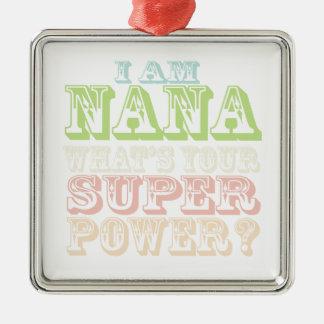 Mig förmiddag Nana. Silverfärgad Fyrkantigt Julgransprydnad