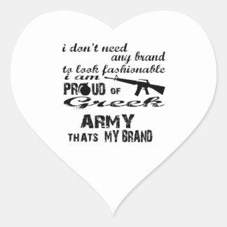 Mig förmiddag som är stolt av den grekiska armén hjärtformat klistermärke