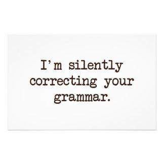 Mig förmiddag som korrigerar tyst din grammatik brevpapper