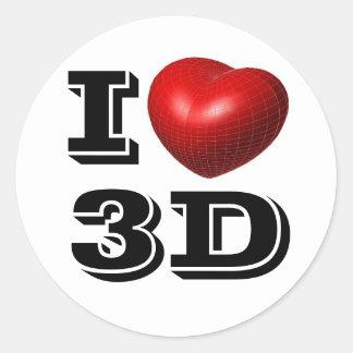 Mig hjärta 3D Runt Klistermärke