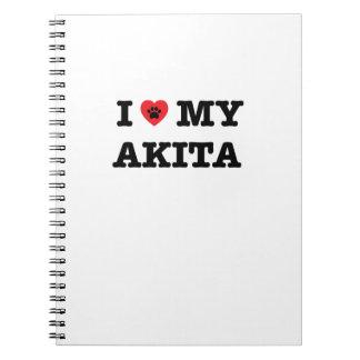 Mig hjärta min Akita anteckningsbok