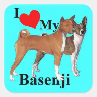 Mig hjärta min Basenji Fyrkantigt Klistermärke