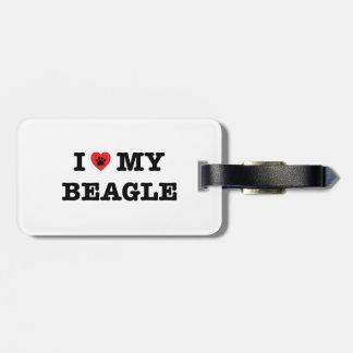 Mig hjärta min Beaglebagagemärkre Bagagebricka