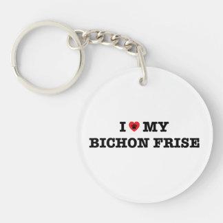 Mig hjärta min Bichon Frise akryl Keychain