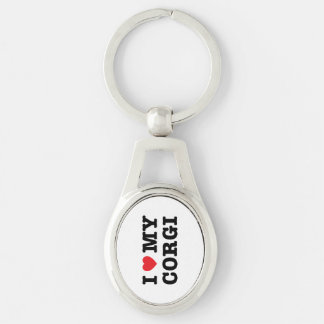 Mig hjärta min Corgi Keychain Ovalt Silverfärgad Nyckelring