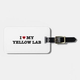 Mig hjärta min gul lab bagagemärkre bagagebricka