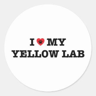 Mig hjärta min gul lab klistermärke