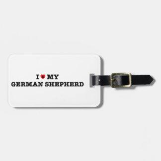 Mig hjärta min tyska herdebagagemärkre bagagebricka