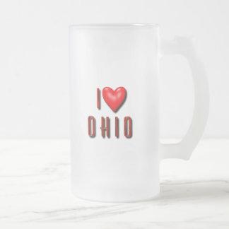 Mig hjärta Ohio Frostat Ölglas