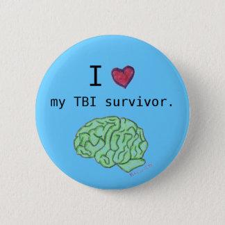"""""""Mig [hjärta] som min TBI-överlevande"""" knäppas Standard Knapp Rund 5.7 Cm"""
