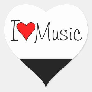 Mig hjärtamusik hjärtformat klistermärke