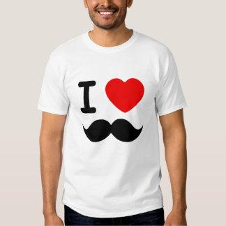 Mig hjärtamustascher tee shirt