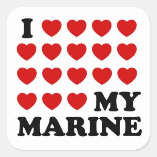 Mig (hjärtor) min flotta fyrkantigt klistermärke