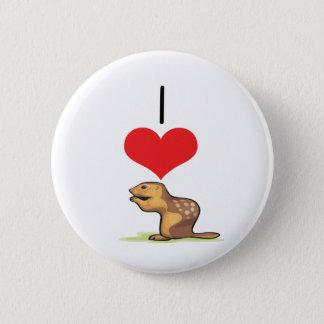 Mig jordekorrar för hjärta (kärlek) standard knapp rund 5.7 cm