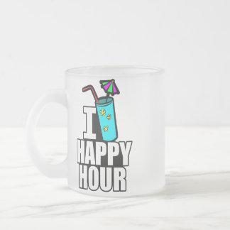 Mig lycklig timme för hjärta frostad glasmugg