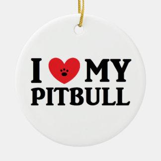 Mig ♥ min Pitbull prydnad Julgransprydnad Keramik