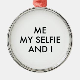 Mig mitt Selfie och I Rund Silverfärgad Julgransprydnad