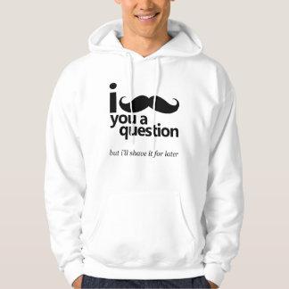 Mig mustasch dig en ifrågasättaHoodie Sweatshirt Med Luva