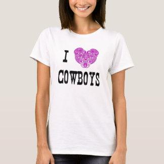 Mig T-tröja för hjärtaCowboys (rosa Paisley Tröjor