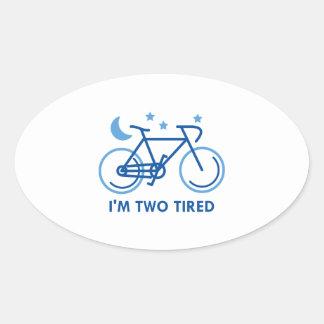 Mig tröttad förmiddag två ovalt klistermärke