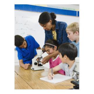 Mikroskop för använda för lärareportionstudenter vykort