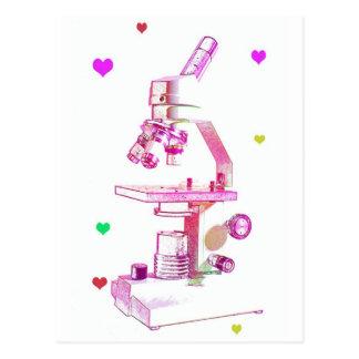 Mikroskop för flickor vykort