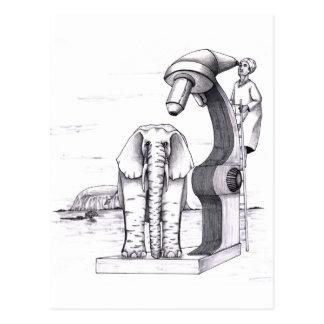 Mikroskop och en elefant vykort