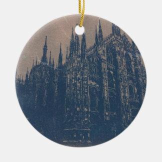 Milan domkyrka rund julgransprydnad i keramik