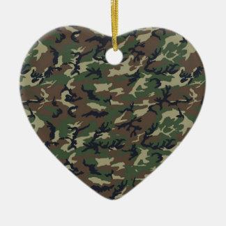 Militär kamouflageskogsmark hjärtformad julgransprydnad i keramik