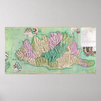 Militär karta av Corsica, 1768 Poster