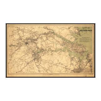 Militär karta av södra östliga Virginia (1864) Canvastryck