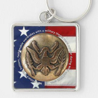 Militär mässing för innegrejen knäppas Non Fyrkantig Silverfärgad Nyckelring