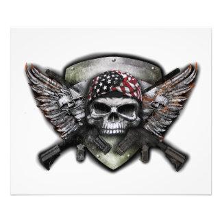 Militär skalle med korsat vapensakkunnigkrig fototryck