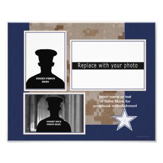 Militär Themed fotoCollage för blått Fototryck