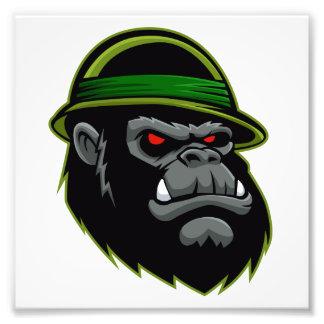Militärt gorillahuvud fototryck