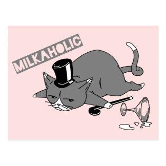 """""""Milkaholic"""" kattBaron Vitsa Illustration Vykort"""