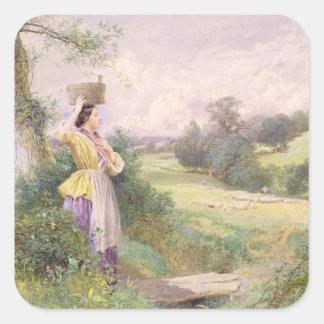 Milkmaiden, 1860 (w/c på papper) fyrkantigt klistermärke