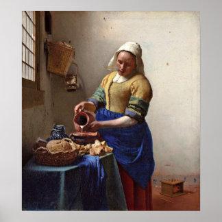 Milkmaiden. vid Johannes Vermeer Poster