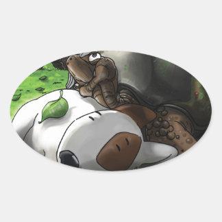 Milo i skogen ovalt klistermärke