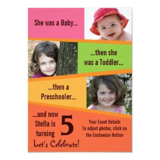 Milstolpefödelsedag - flickor 11,4 x 15,9 cm inbjudningskort