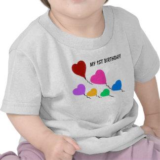 Min 1st födelsedaghjärta sväller den begynna tee shirt