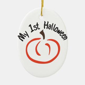 Min 1st Halloween Ovalformad Julgransprydnad I Keramik