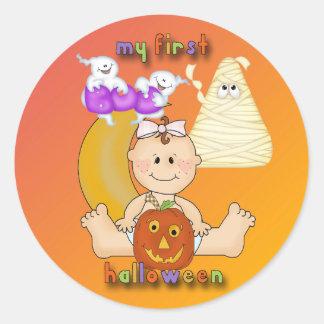 Min 1st Halloween rundaklistermärke Runt Klistermärke