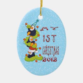 Min 1st jul - pingvinprydnad julgransprydnad keramik