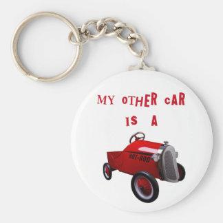 Min annan bil är en hot rod rund nyckelring