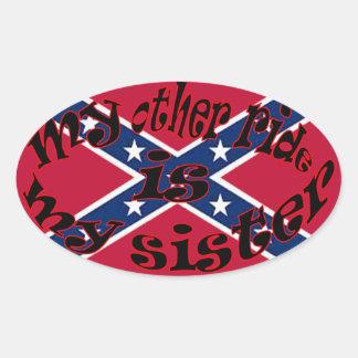 min annan ritt är min syster ovalt klistermärke