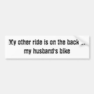 Min annan ritt är på baksidaen av min make cykel bildekal
