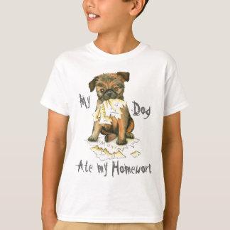 Min Bryssel Griffon åt min läxa T-shirt
