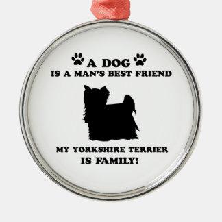 Min familj för yorkshire terrier, din hund precis julgransprydnad metall