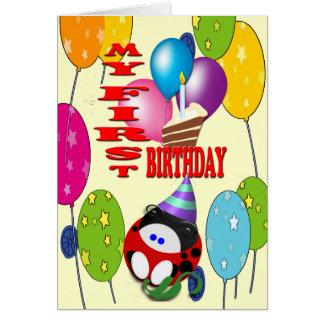 Min första födelsedag hälsningskort